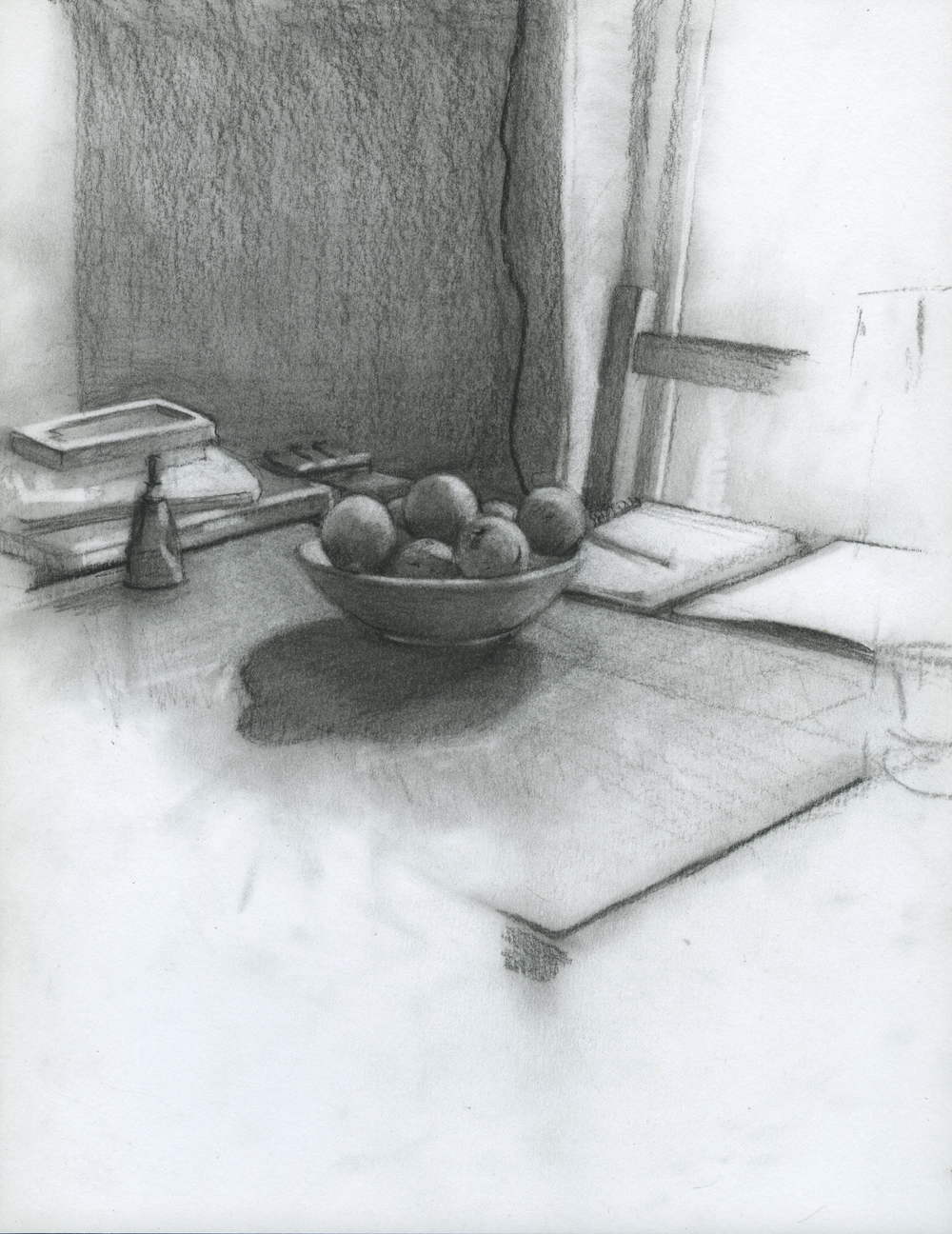 "Household Activities, charcoal on paper, 11"" x 8.5"", 2014"