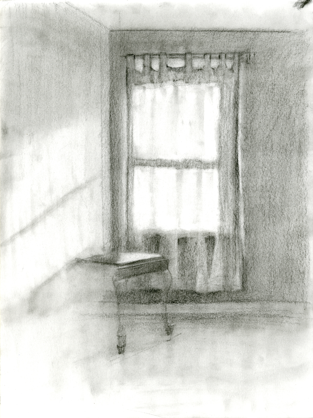 """Blazing with Silence, Charcoal on Paper, 12"""" x 9"""", 2016"""