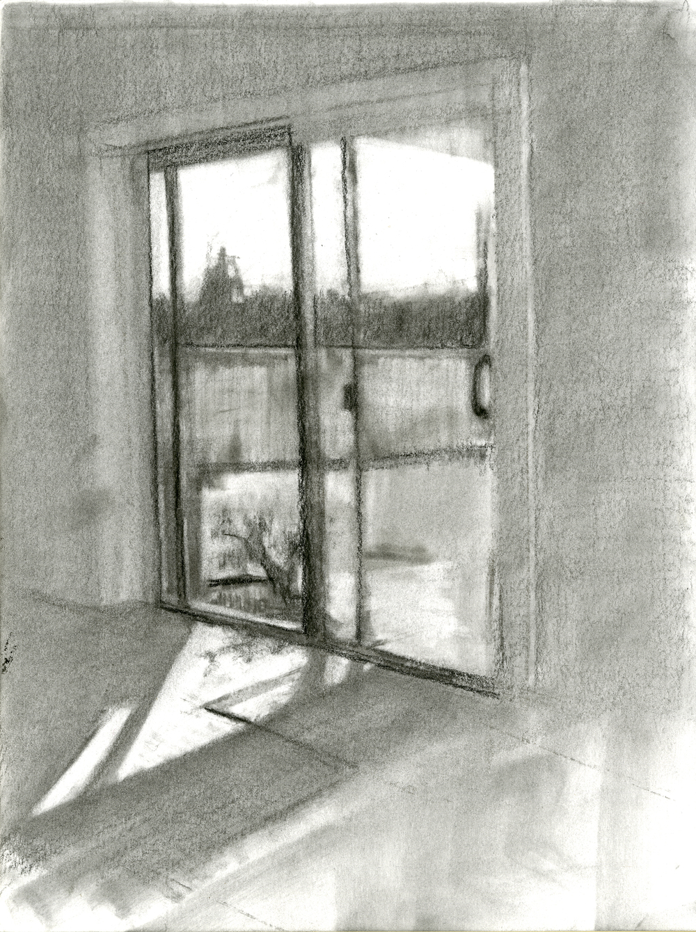 """Warm Interior, Charcoal on Paper, 12"""" x 9"""", 2016"""