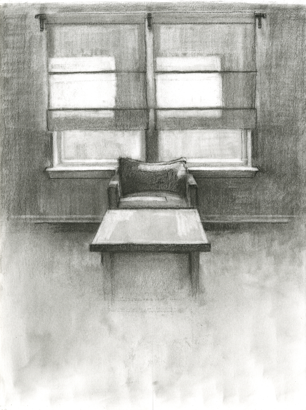 """Quiet of the House,Charcoal on Paper,12"""" x 9"""", 2016"""