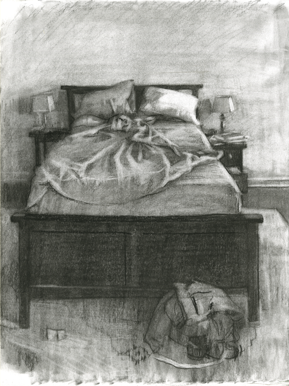 "Bedsheet Days, Charcoal on Paper, 12"" x 9"", 2016"