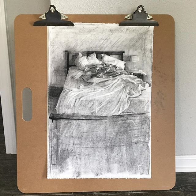 Yesterday's unmade bed, charcoal on paper.