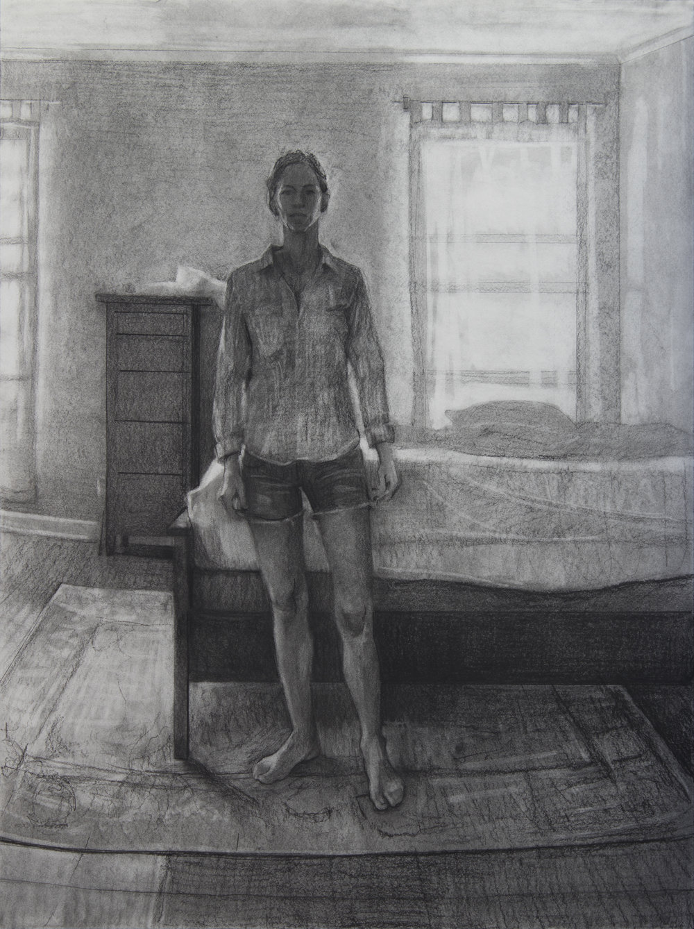 """Counterpoints Made, Charcoal on Paper, 24"""" x 18"""", 2017"""