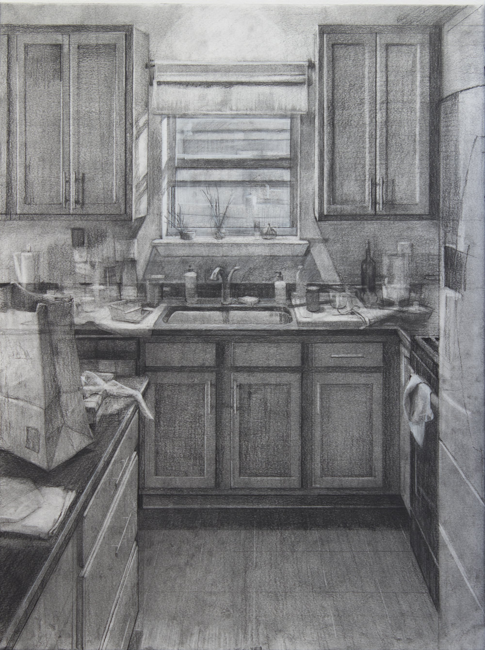 """Daytime Clutter, Charcoal on Paper, 24"""" x 18"""", 2017"""