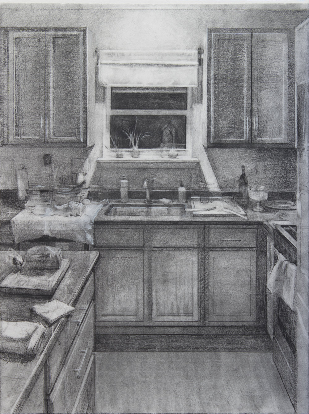 """Nighttime Clutter, Charcoal on Paper, 24"""" x 18"""", 2017"""