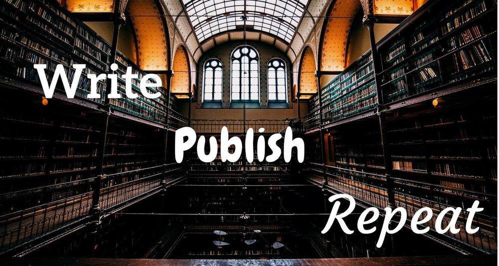 write, publish, repeat header image for my books