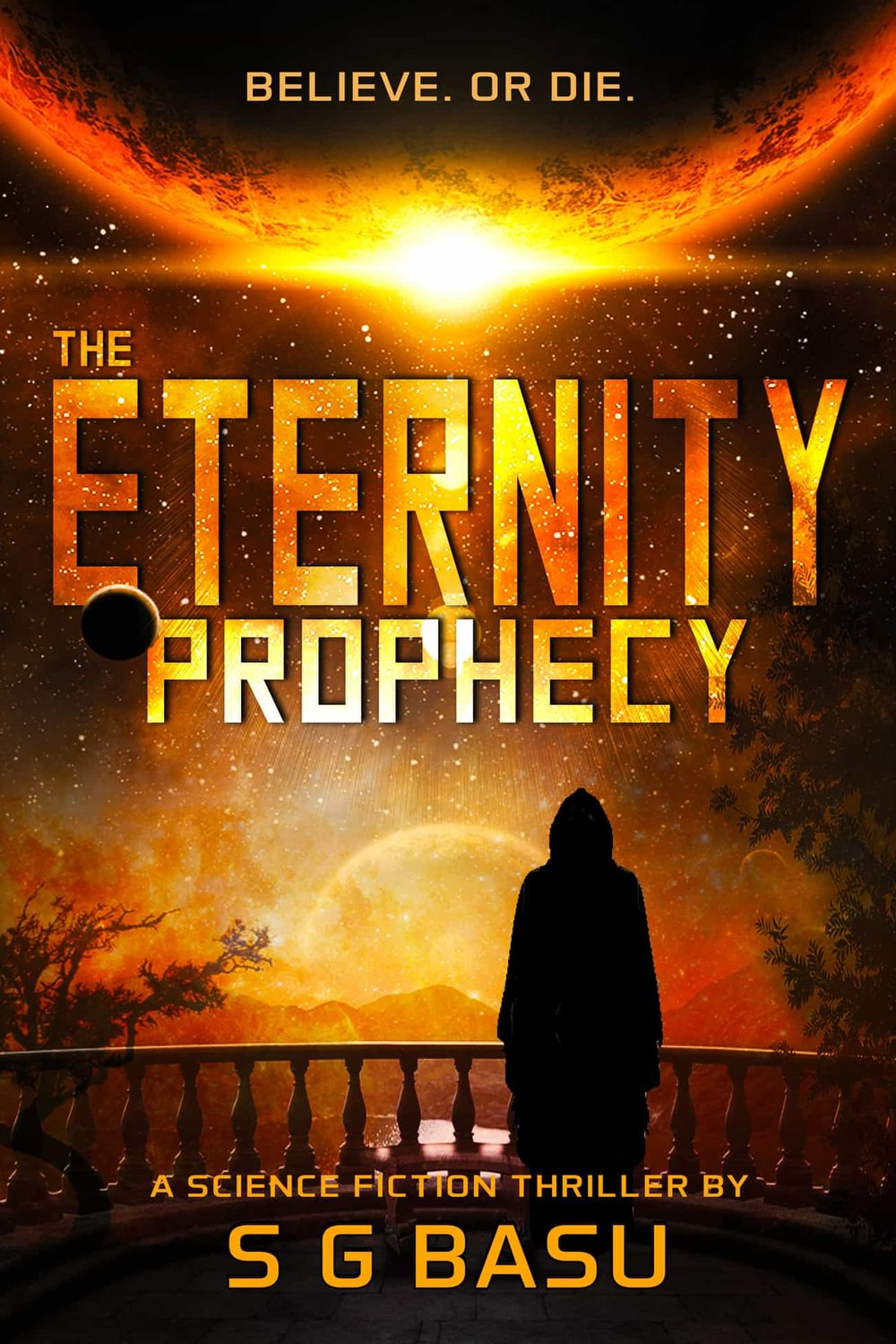The Eternity Prophecy - In the Veloressian Empire of the twenty-three stars, prophecies are sacred and absolute. Until the day Oracle Prime Leon Courtee challenges the Empire's most sacrosanct divination--the Eternity Prophecy. The next morning he disappears, along with an inconceivable truth that could cripple the Empire.As murmurs of a conspiracy simmer underneath a facade of peace, the regime prepares to strike back. Anything to keep the dissenters quiet. Or better yet, dead. The Empire is ready to turn innocents into pawns in a game of treachery and deceit--a sacrifice deemed necessary to keep peace across the galaxy.Will truth stand a chance against the all-powerful Empire?In this unputdownable tour de force, disparate lives--a young mother fleeing a horrific past, a covert operative trying to resuscitate his career, a self-taught hacker fixated on revenge, an assassin seeking redemption--crisscross and careen unwittingly toward a stunning conclusion.