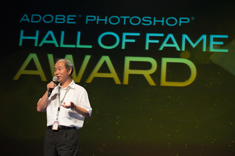 Jeff during his Photoshop Hall of Fame acceptance speech