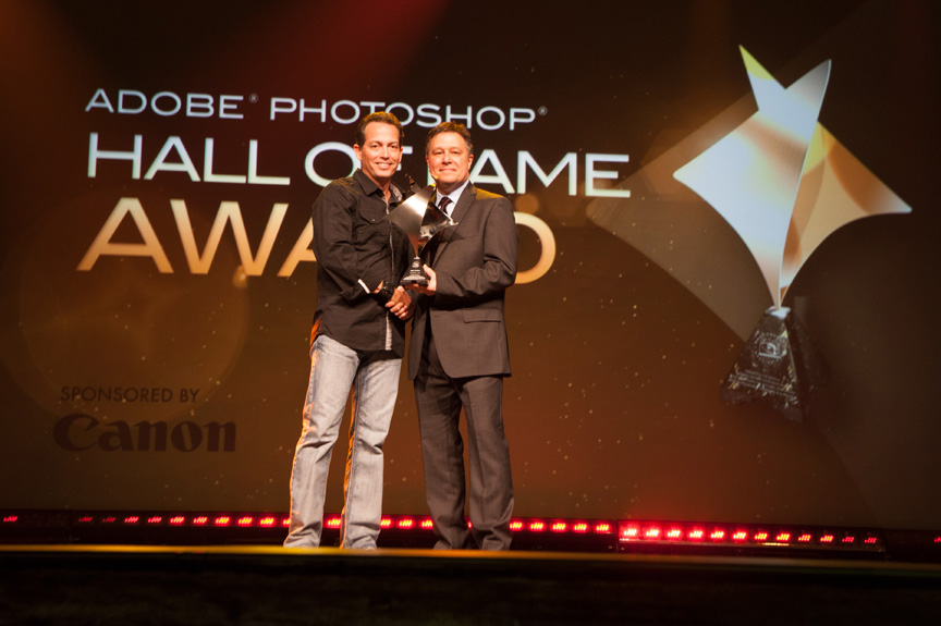 Felix (L) accepting the Hall of Fame Award during the Photoshop World opening keynote