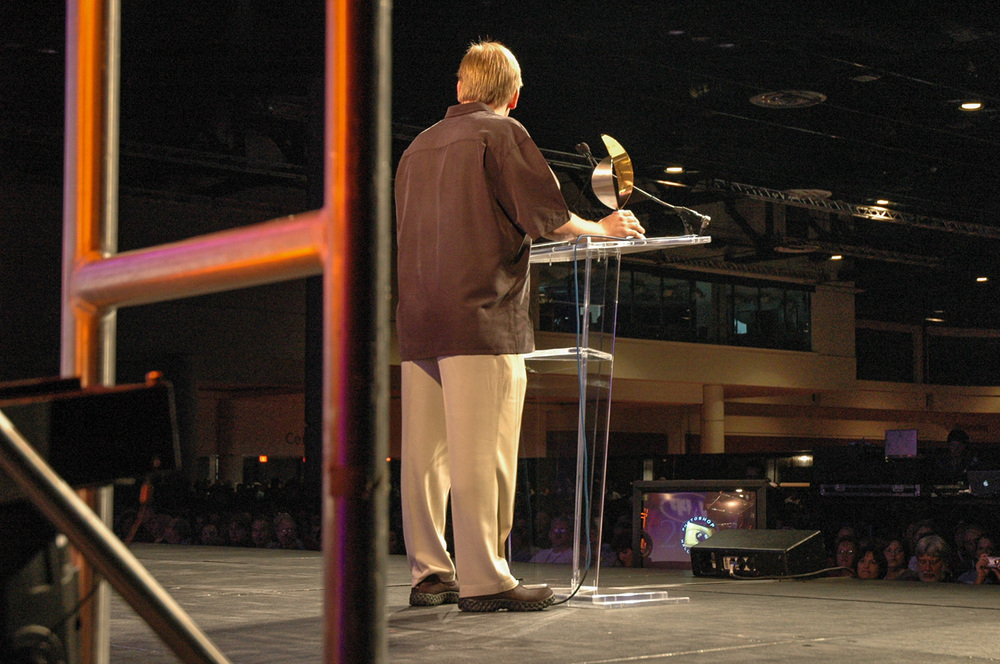 Ben from backstage - during his acceptance speech at the Photoshop World Conference & Expo