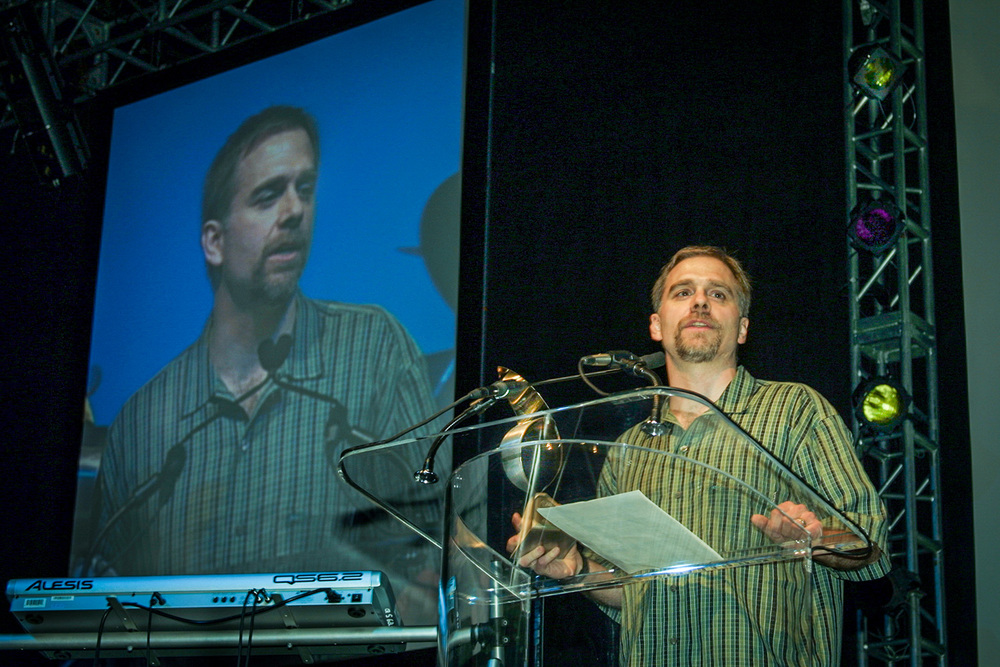 Deke during his acceptance speech at the Photoshop World Conference & Expo