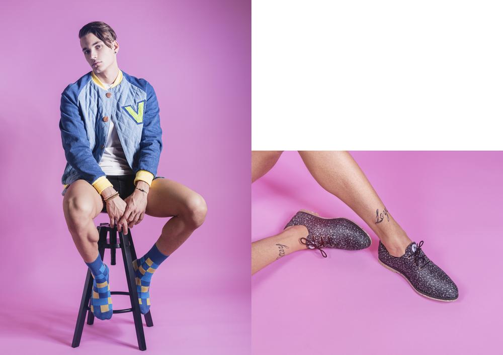 Bomber jacket & t-shirt  Sanikai  Socks  Minga Berlin  Shoes  Insecta vegan shoes
