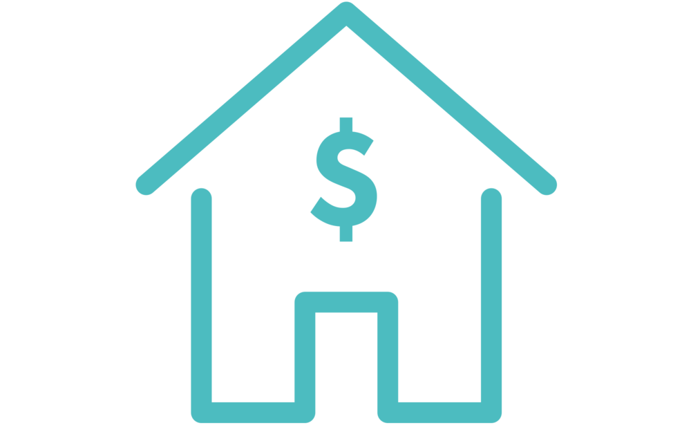 Vector design of house with dollar sign on the left in line with first paragraph.