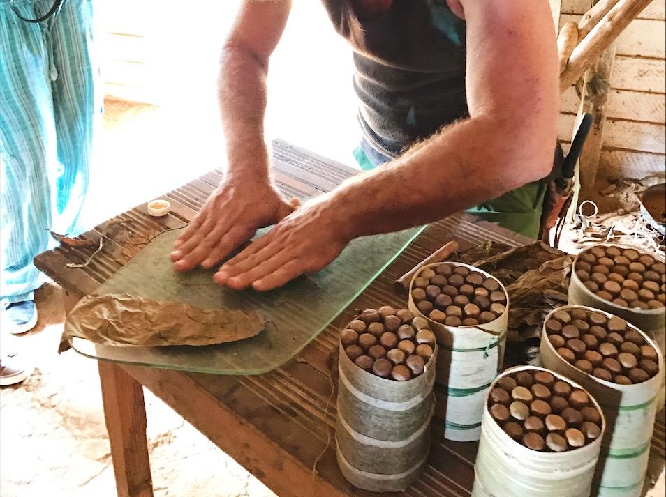 Hand-rolled cigars in Viñales, Cuba
