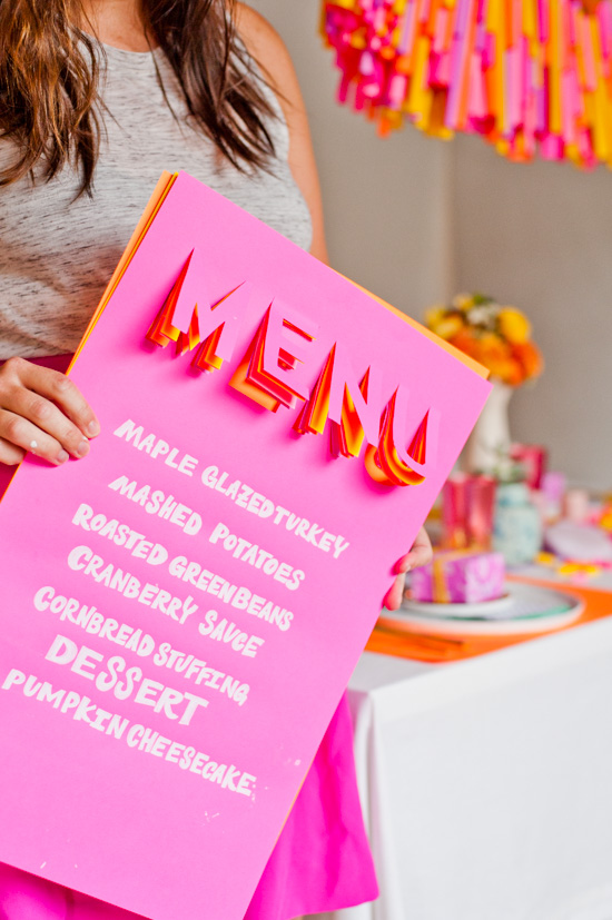 pops of color - these 3D menus make such a fun statement.
