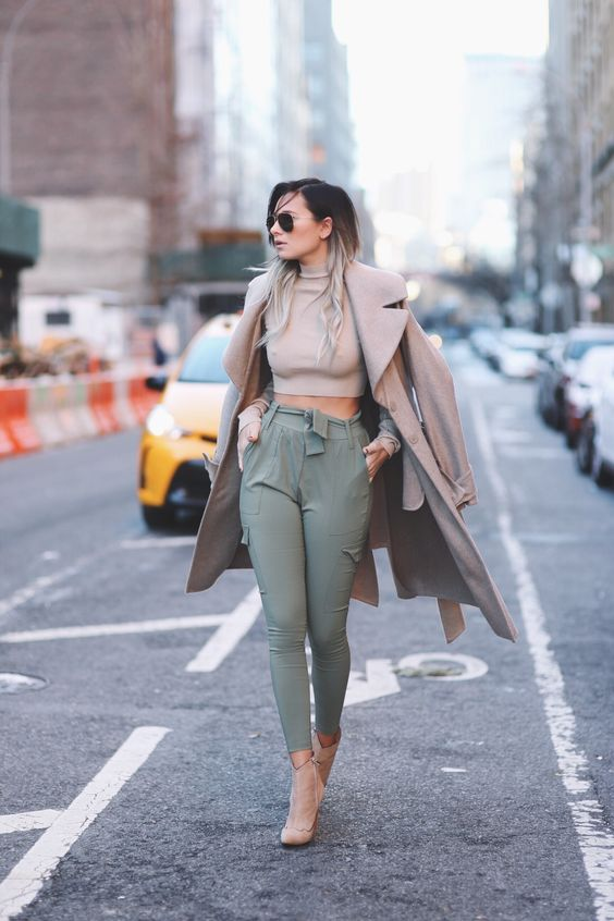 Neutral Game Strong - First of all, those joggers are gorgeous -- and so are any athleisure style garb you might have in your closet. A cute sweatpant might work here too. I'm loving this look because of the camel colors, really. They play a nice wintry vibe on what could be a very summery outfit. The jacket and turtleneck for warmth, yet the crop keeps it interesting and plays well against the high-rise of the pant. This is a throw on and run out the door kind of outfit (but cute enough that you could have spent all morning putting it together). If heeled booties aren't your thing, try nude flats or white sneakers.