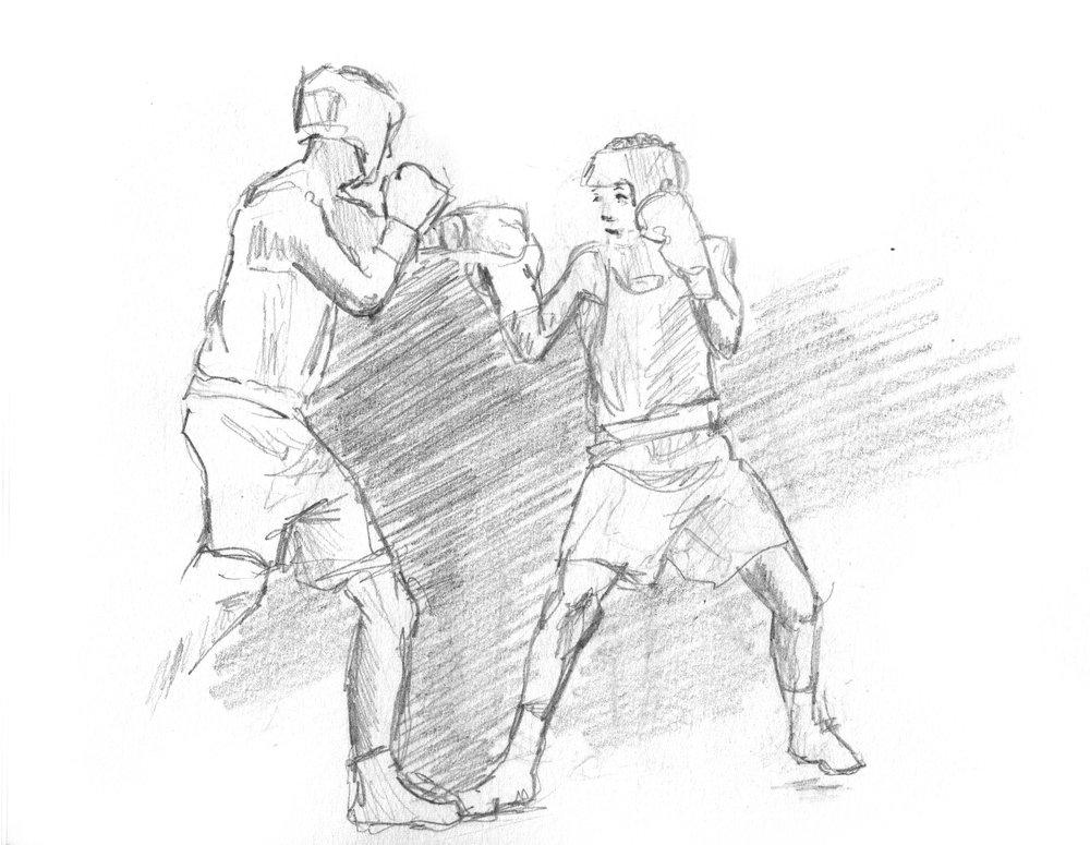 Boxer 3 / 2018 / Bleistift auf Papier / 14 x 30 cm
