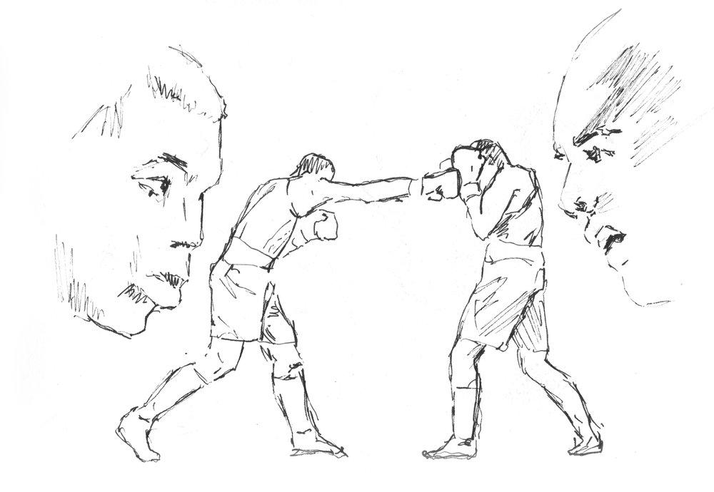 Boxer 4 / 2018 / Filzstift auf Paier / 14 x 30 cm