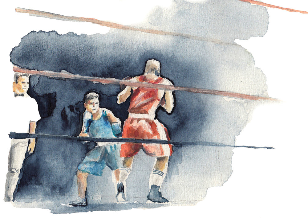 Boxer 2 / 2018 / acrylic and watercolor on paper / 14 x 30 cm