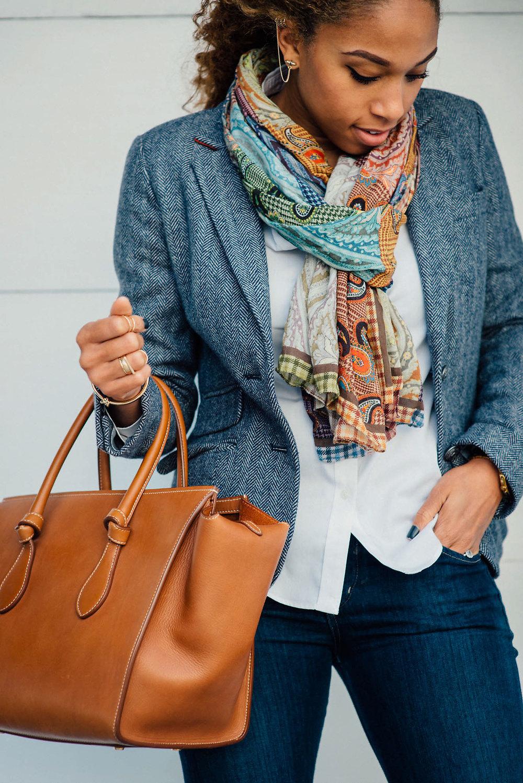 Blazer: options below | Accessories:  bracelet , rings , &  earrings  |  | Scarf:  Similar | Jeans:  Here  | Bag: Celine Tie Tote | Shoes: Ralph Lauren Collection