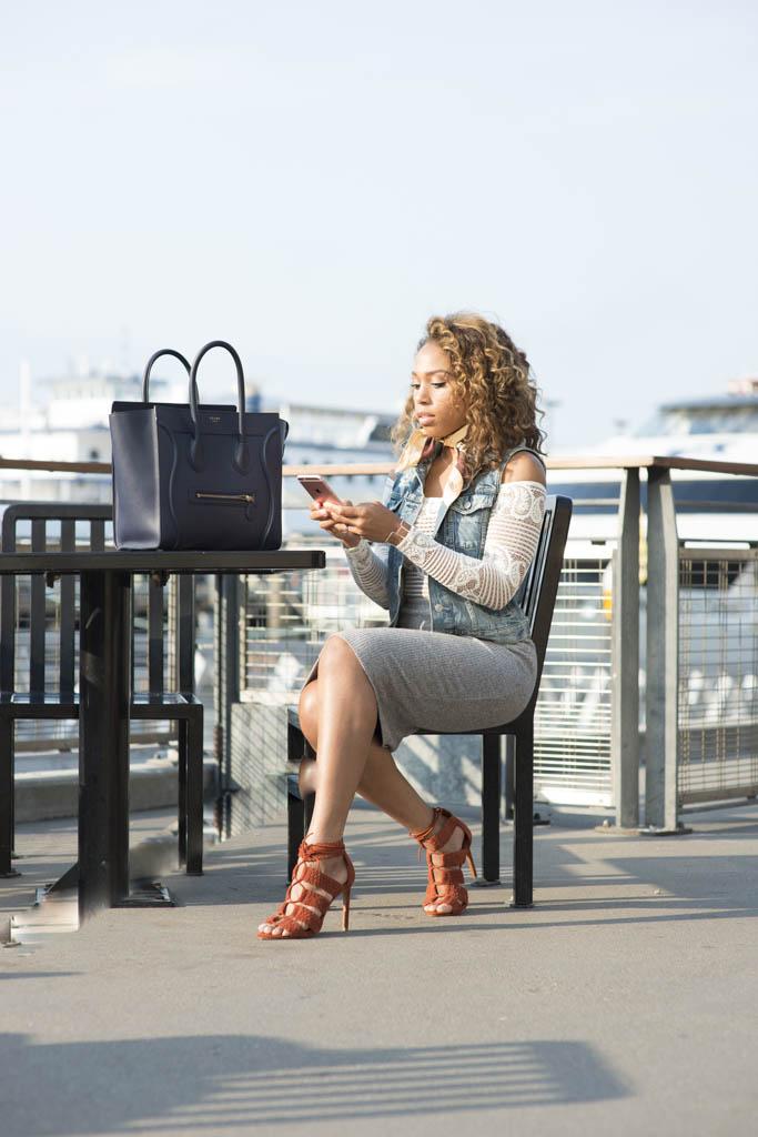 Lace  body suit , Denim Vest -  similar,  Jersey Skirt -  similar , Braided Suede Sandals -  similar ,  Jewelry .