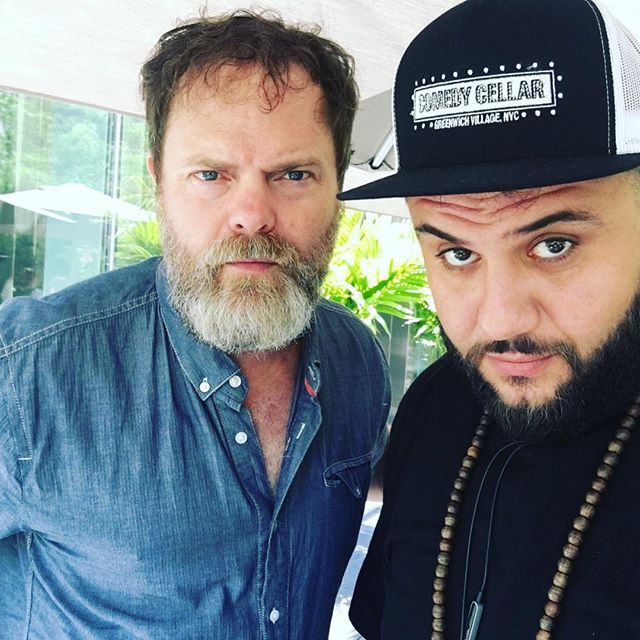 #TBT with my pal and wonderful human Rainn Wilson! We happened to both be in Toronto...I was doing a show in the square and Rainn was filming Star Trek basically the same thing. No? Yes? #ThrowBackThursday #🖖🏽