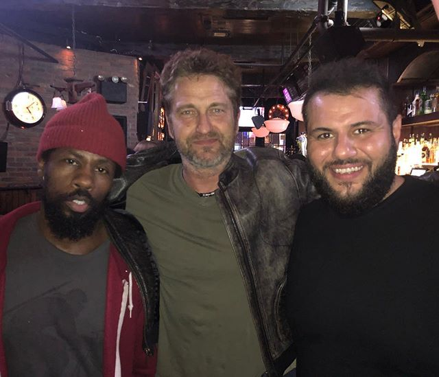 Just just never know who pops into the Comedy Cellar. Great meeting Gerard Butler at the show last night and chopping it up afterwards. All love and lots of ball busting. #Roadtothetaping #NYCCellarNights #300