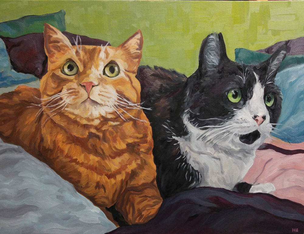 Pan and Stella, Oil on Canvas, 28x36