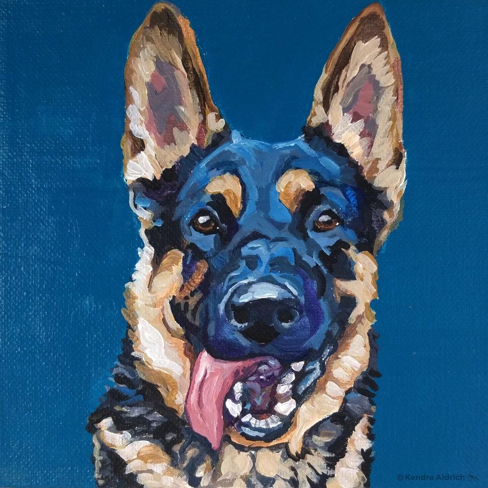 Attie, Acrylic on Canvas, 6x6