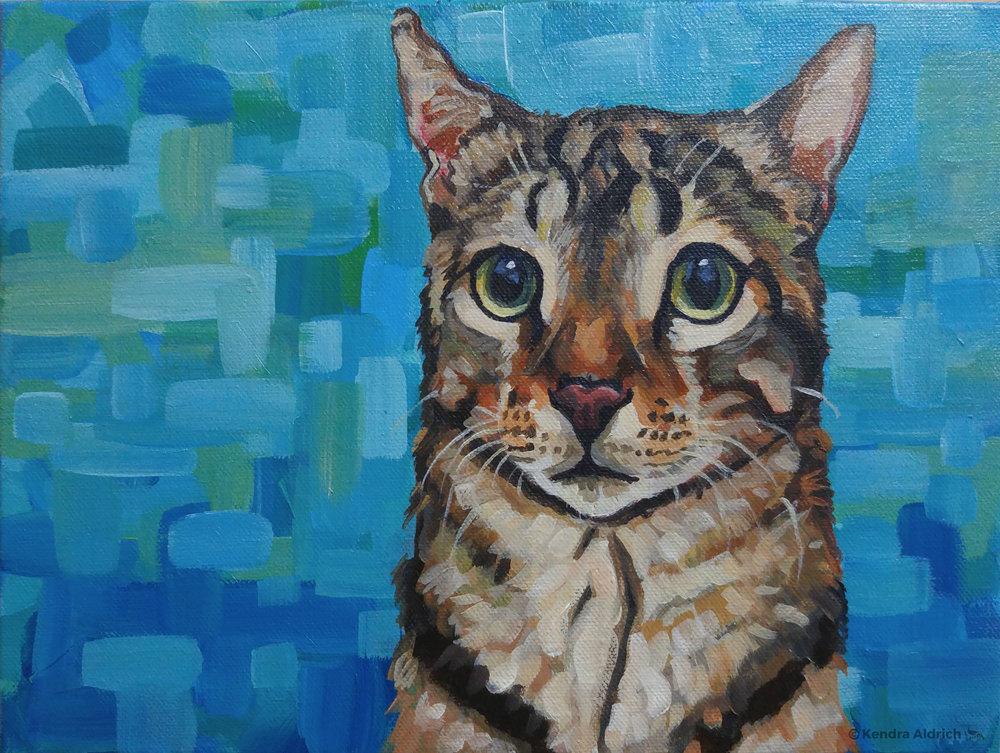 Amber's Cat, Acrylic on Canvas, 8x10