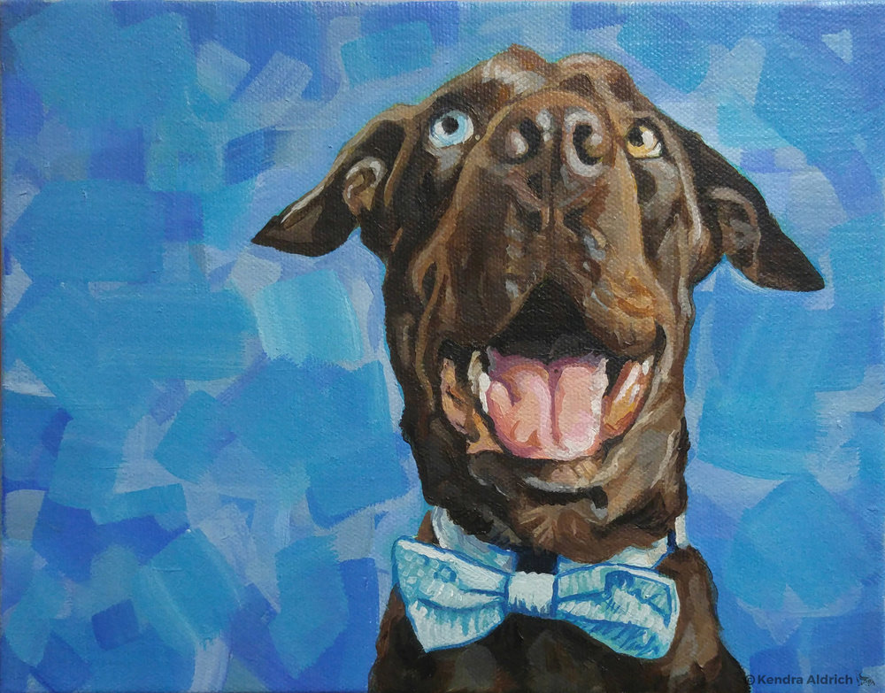 Goofy Dog 1, Acrylic on Canvas, 8x10
