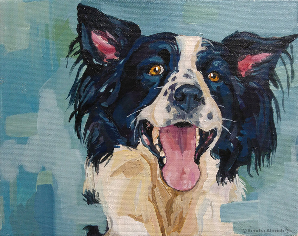 Collie, Acrylic on Canvas, 8x10