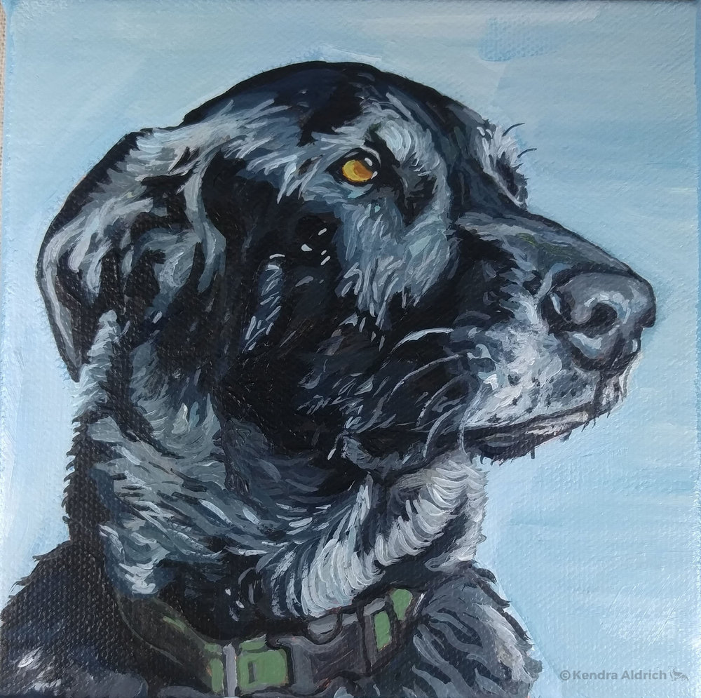 Decker, Acrylic on Canvas, 6x6