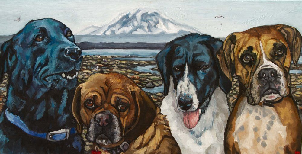 Maxine, Frankie Louise, Daisy Mae, & Quincy, Oil on Canvas, 15x30