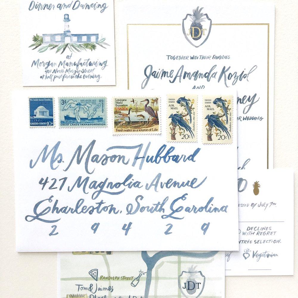 Using Vintage Postage Allie Hasson Modern Heirloom Wedding