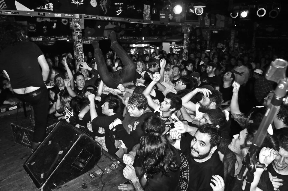 Stage diving at The Bled's final show