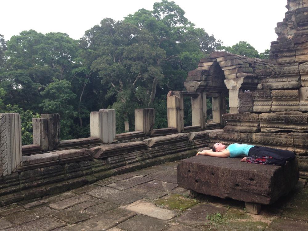 Yoga at Angkor Wat Temples, Cambodia.
