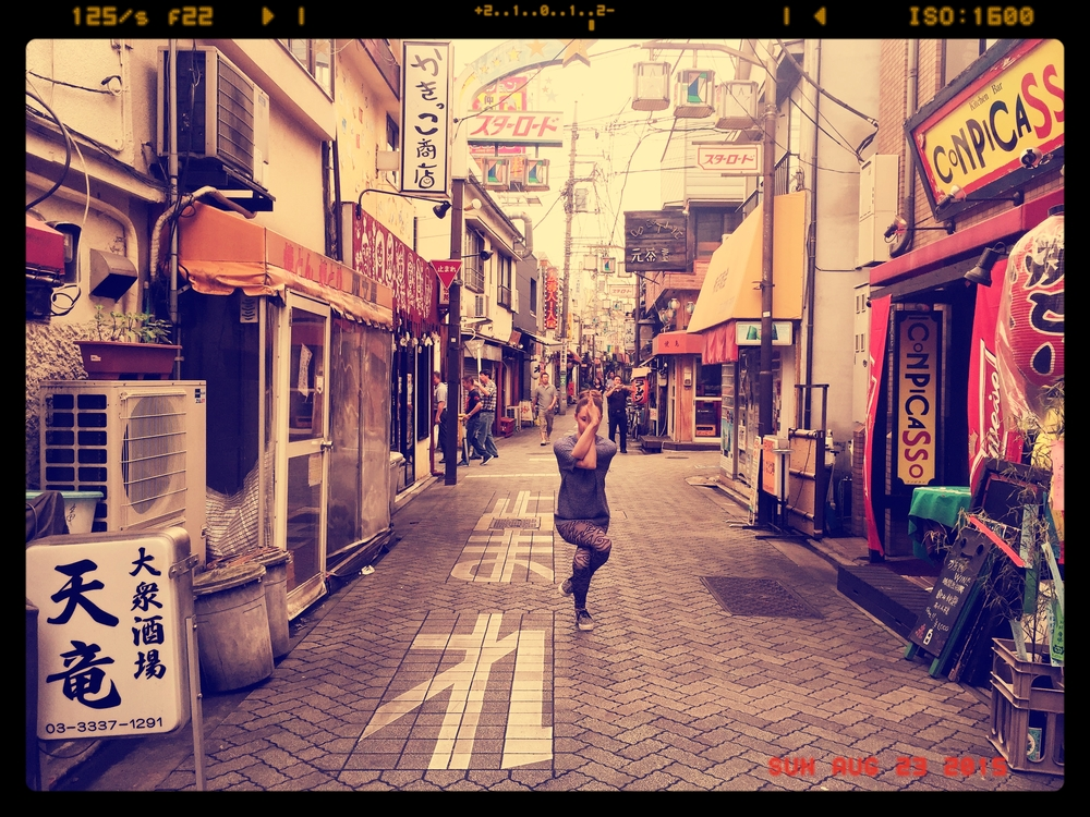 Garudasana on the streets of Tokyo, Japan