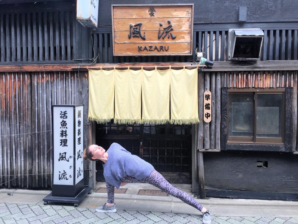 Baddha Utthita Parsvakonasana on the streets of Tokyo