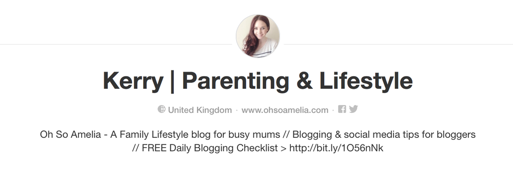 Example of a great Pinterest profile | Kerry Parenting & Lifestyle