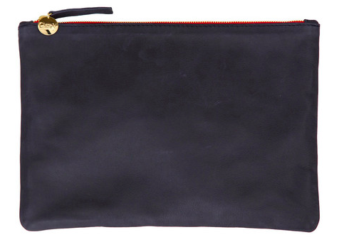 To store goodies, a Clare V. flat clutch -- monogrammed, of course!