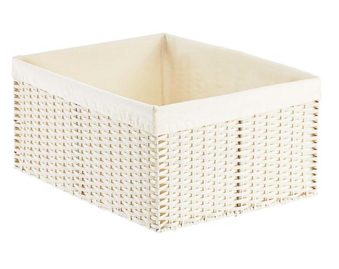 White Montauk Woven Rectangular Storage Bins