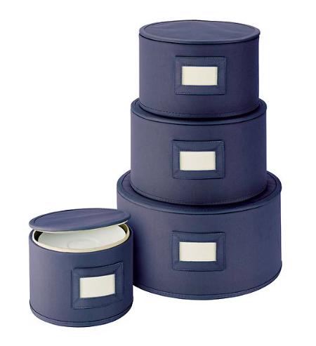 Blue Round Plate Storage Cases