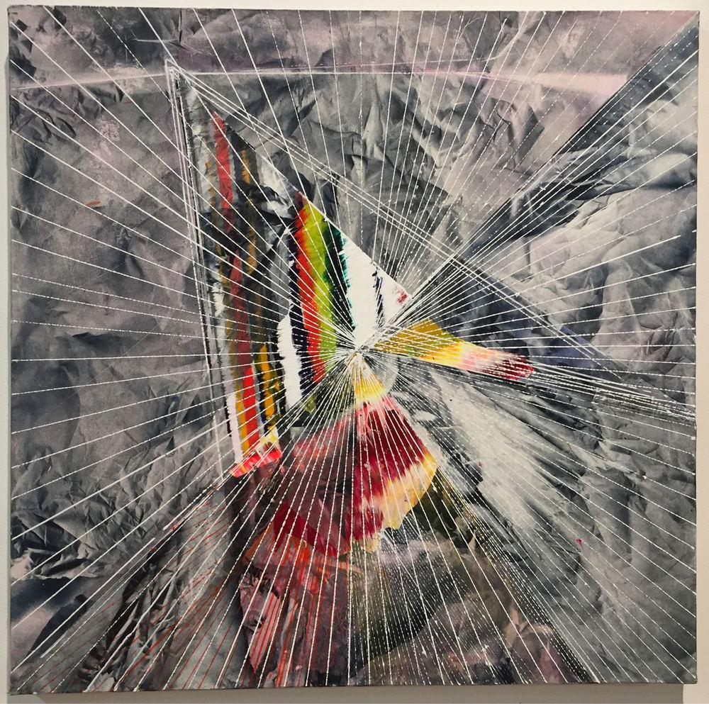 "Fossil,  2015 Acrylic & glassine on canvas 30""x30"""
