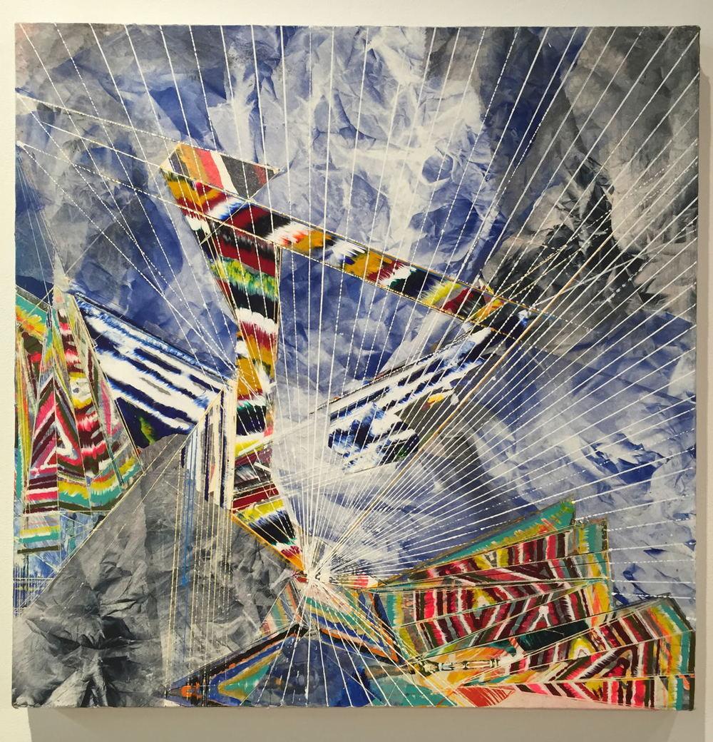 "Boomerang , 2015 Acrylic & glassine on canvas 30""x30"""