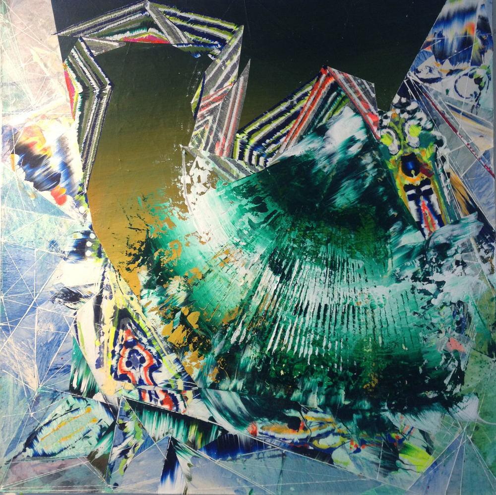 "Splinter , 2014 Acrylic & glassine on canvas 30""x30"""