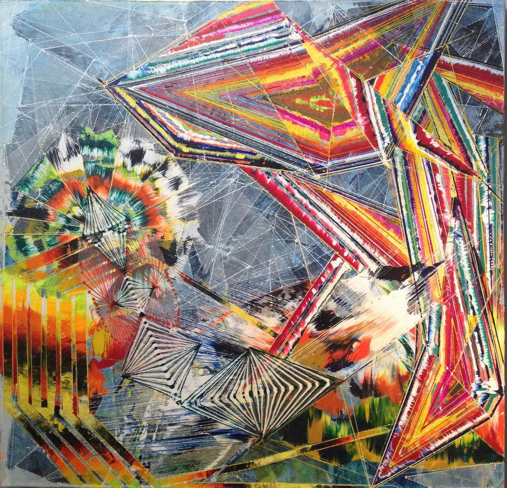 "Japanese Wave  2011 Acrylic & glassine on canvas 30""x30"""