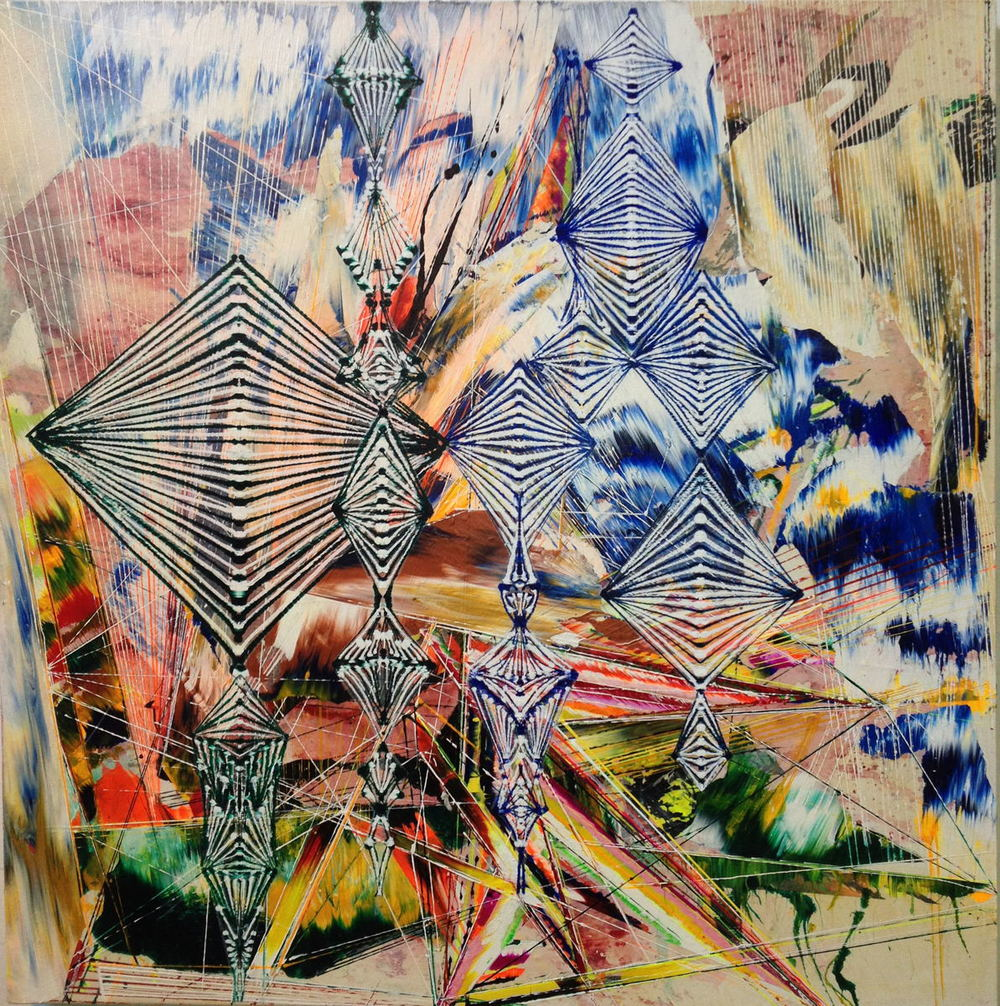 "Ablation , 2012 Acrylic & glassine on canvas 30""x30"""