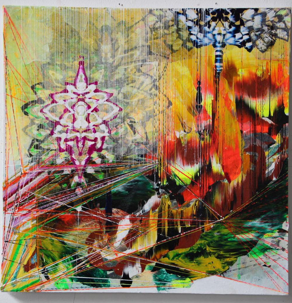 "Scorch , 2013 Acrylic & glassine on canvas 24""x24"""