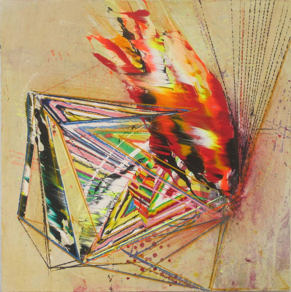 "Strike  Acrylic & glassine on canvas 24""x24"""